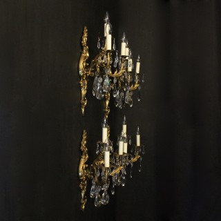 French Set Of 4 Gilded Triple Arm Wall Lights