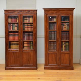 Pair of Similar XIXth Century Alcove Bookcases in Mahogany