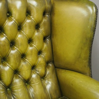 Pair of Georgian Style Green Leather Wing Chairs