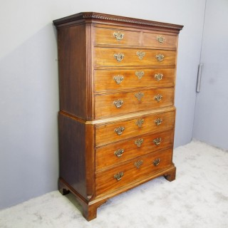 George III Chippendale Style Mahogany Chest on Chest
