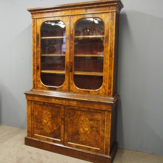 Marquetry Inlaid Burr Walnut Cabinet Bookcase