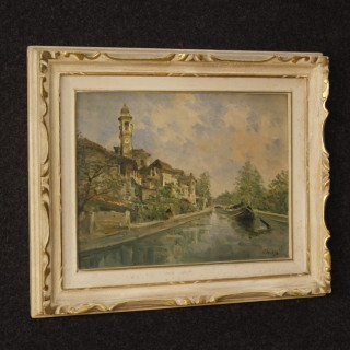 Italian Landscape Painting River View In Impressionist Style From 20th Century