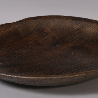 Antique Treen Georgian Period Elm Serving Dish
