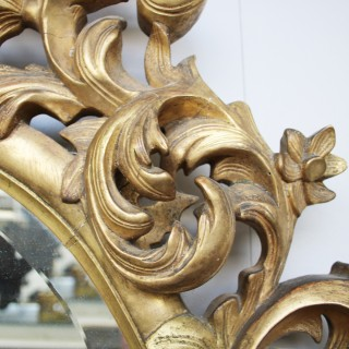 large mid 19th century French Rococo gilded carved wood oval wall mirror