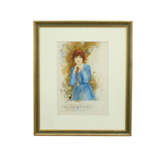The Tennis Girl, Painting in Watercolour