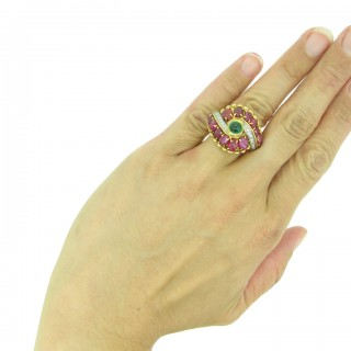 Marchak cabochon emerald, carved ruby and diamond ring, French, circa 1950.