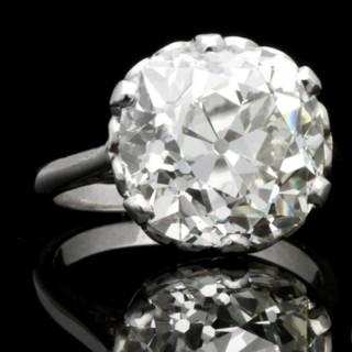 Cushion shape solitaire old mine diamond ring, circa 1905.