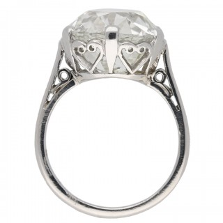 Cushion shape solitaire old mine diamond ring, circa 1905.