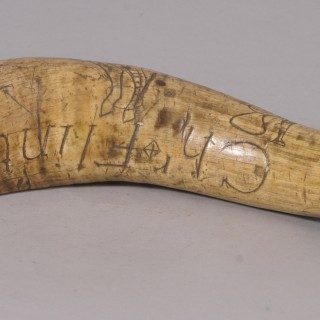 Antique Georgian Cow Horn Scrimshaw