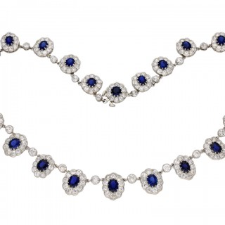 Burmese sapphire and diamond necklace/tiara, circa 1920.