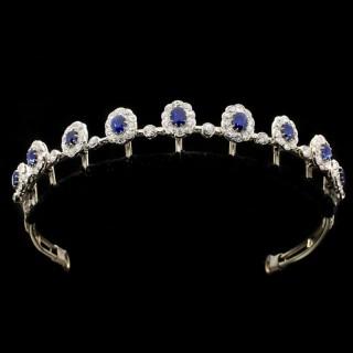 Burmese sapphire and diamond necklace/tiara, circa 1920.