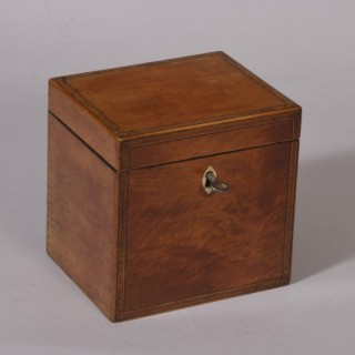 Antique 18th Century Sheraton Period Satinwood Tea Caddy