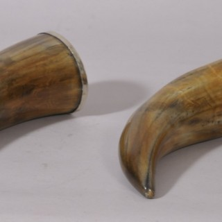 Antique 19th Century Pair of Scottish Drinking Horns