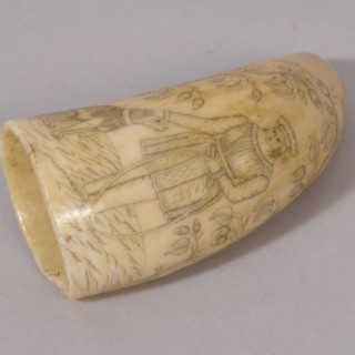 Antique 19th Century Whale Tooth Scrimshaw