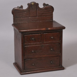 Antique 19th Century Dark Red Painted Pine Miniature Chest of Drawers