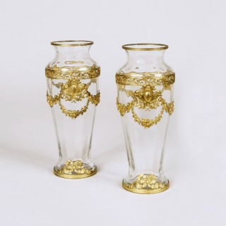 A Pair of Crystal Glass Vases attributed to Baccarat