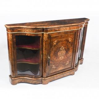 Antique Victorian Serpentine Inlaid Burr Walnut Credenza Side Cabinet 19th C