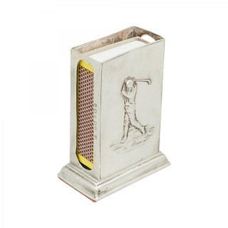 Silver Golf Matchbox Holder