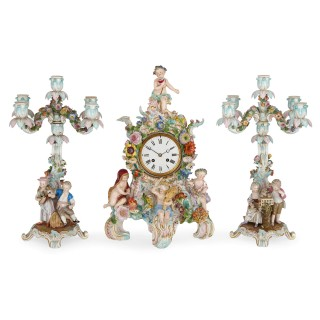 German Rococo style three piece porcelain clock set by Meissen