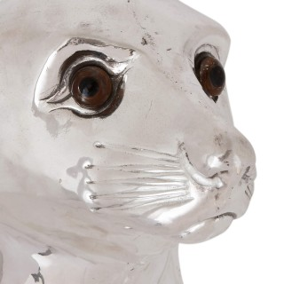 Silver-plate sea lion wine or champagne cooler