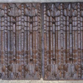 Pair of Gothic Oak Linenfold Panels