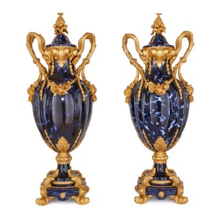 Large pair of Rococo style gilt bronze and blue ceramic vases