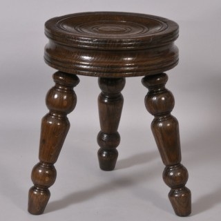 Antique 19th Century Circular Oak Stool