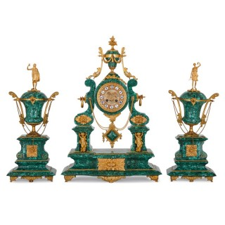 Neoclassical style ormolu and malachite clock set
