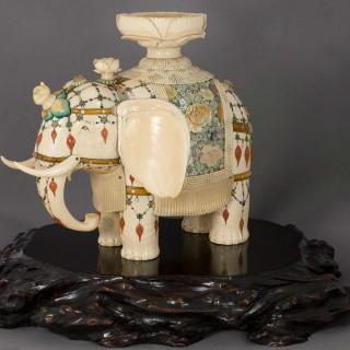 LARGE JAPANESE IVORY AND SHIBAYAMA CAPARISONED ELEPHANT OKIMONO - MASAYUKI