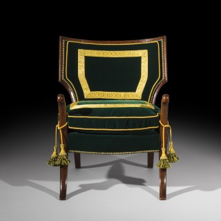 Rare Regency Officer's Klismos Armchair
