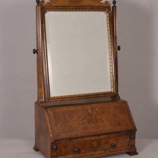 George II Walnut Bureau Dressing Mirror