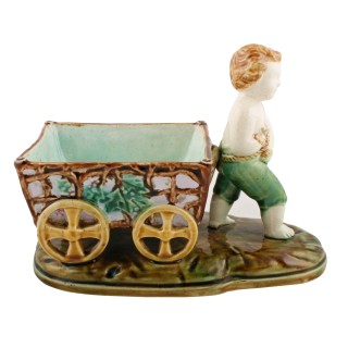 Victorian Majolica Boy & Grape Cart