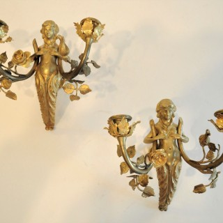 Pair of gilt nymph Wall Lights