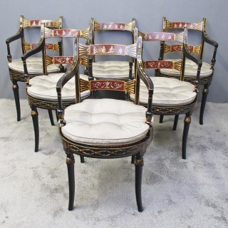 Set of 6 Regency Bergere and Painted Chairs