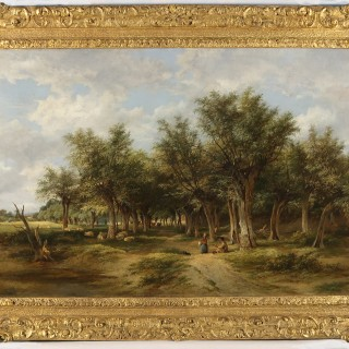 Wooded Landscape with Cattle & Sheep