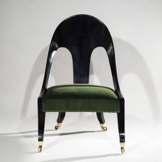 Regency Ebonised Klismos Cocktail Chair