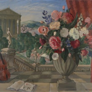 Vase of flowers with Garden beyond