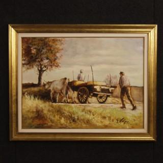 Italian signed painting countryside popular scene