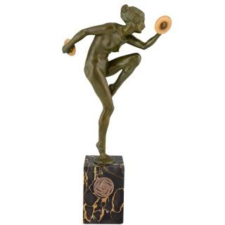 Art Deco bronze sculpture nude cymbal dancer