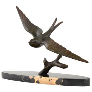 Art Deco bronze sculpture of a swallow bird.