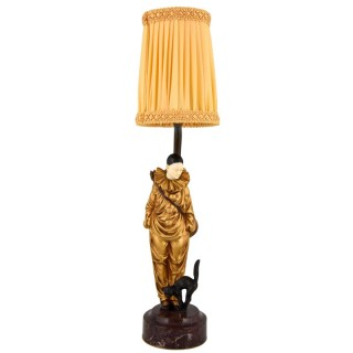 Art Deco bronze lamp with pierrot clown and cat