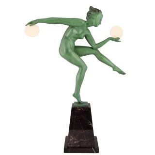 Art Deco sculpture of a nude disc dancer 19.5 inch tall