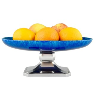 Art Deco blue ceramic and chrome fruit dish