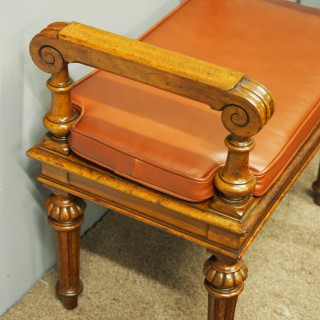 Oak Window Seat with Leather Cushion