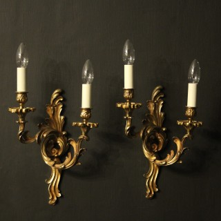 French Signed Pair Of Twin Arm Wall Lights