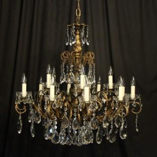 Italian Bronze & Crystal 15 Light Chandelier