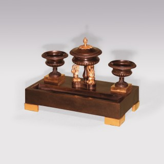 19th Century bronze and ormolu Pen Tray with urns