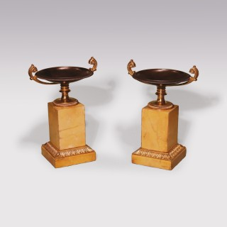 Small pair of 19th Century bronze and ormolu Tazzas