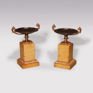 Small pair of 19th Century bronze and ormolu Tazzas