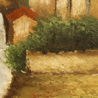 Italian signed landscape painting oil on canvas